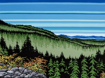 """Benson Views"" Original acrylic painting on 30x40 canvas, 2018. Inspired by the incredible views from the first lookout on Mt. Benson, in Nanaimo on Vancouver Island. Mt. Arrowsmith in the distance. Price of original: $1525.00 9x12 Paper print: $28.00 5x7 Art cards: $6.00 Available in a variety of sizes on paper or on canvas. Please message for pricing/shipping details."