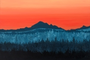 """""""Mt. Baker"""" Original acrylic painting on 24x36 canvas, 2017. Inspired by a sunrise photo capture from Extension Road in South Nanaimo, showing Mt. Baker in the far distance against a vivid orange sky. Price of original: $925.00 8x12 Paper print: $28.00 5x7 Art cards: $6.00 Also available in a wide variety of paper or canvas prints. Please message for pricing/shipping details."""