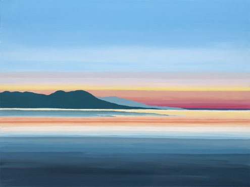 """""""The Salish Sea"""" Original acrylic on 30x40 canvas. Inspired by a beautiful sunset evening in Lantzville, on Vancouver Island. 9x12 Paper prints on cotton rag art paper $36.00. 5x7 Art Cards $6.00. Available in a wide variety of sizes on paper or canvas, please message or email for details."""